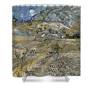 Landscape At Saint Remy Enclosed Field With Peasant Shower Curtain