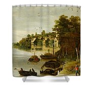 Landscape By A Riverside Town Shower Curtain