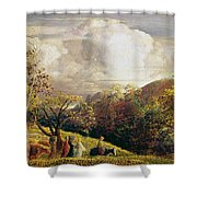 Landscape Figures And Cattle Shower Curtain