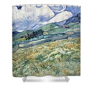 Landscape From Saint Remy At Wheat Fields  Van Gogh Series   By Vincent Van Gogh Shower Curtain