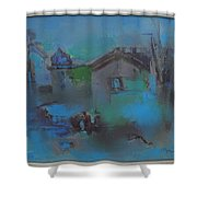 Landscape In Blue Shower Curtain