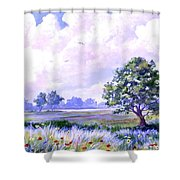 Landscape In Blues Shower Curtain