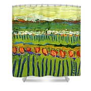 Landscape In Green And Orange Shower Curtain by Jennifer Lommers
