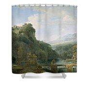 Landscape Of Ancient Greece Shower Curtain by Pierre Henri de Valenciennes