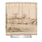 Landscape River With Bathers Shower Curtain