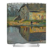 Landscape With A Barn Shower Curtain