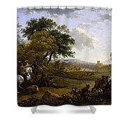 Landscape With A Hunting Party Nicolaes Claes Pietersz Berchem Shower Curtain