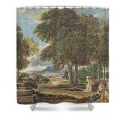 Landscape With A Man Washing His Feet At A Fountain Shower Curtain