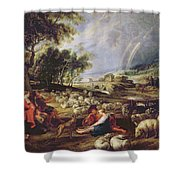 Landscape With A Rainbow Shower Curtain