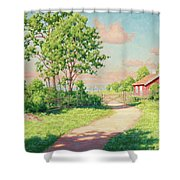 Landscape With A Red Cottage Shower Curtain