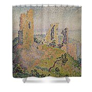 Landscape With A Ruined Castle  Shower Curtain by Paul Signac