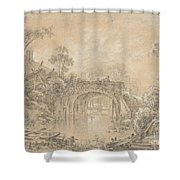 Landscape With A Rustic Bridge Shower Curtain