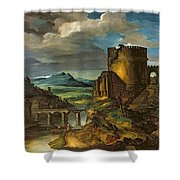 Landscape With A Tomb  Shower Curtain by Theodore Gericault