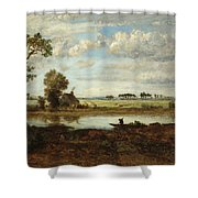 Landscape With Boatman Shower Curtain