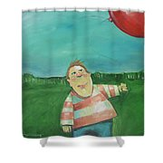 Landscape With Boy And Red Balloon Shower Curtain