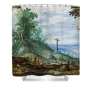 Landscape With Cattle Herd And Rider Shower Curtain