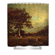 Landscape With Cows 1870 Shower Curtain