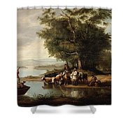 Landscape With Cows Shower Curtain