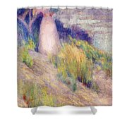 Landscape With Figure In Pink Shower Curtain