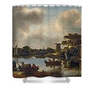 Landscape With Fishers Shower Curtain