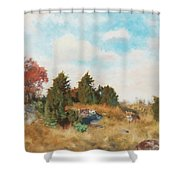 Landscape With Fox Shower Curtain