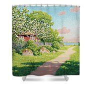 Landscape With Fruit Trees Shower Curtain