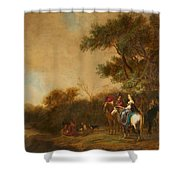 Landscape With Hunting Party Shower Curtain