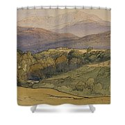 landscape with Lochnagar in the distance Shower Curtain