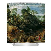 Landscape With Milkmaids And Cows Shower Curtain