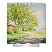 Landscape With Pickling Hens Shower Curtain