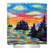 Landscape With Saucers Shower Curtain
