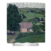 Landscape With Thatched Barn Shower Curtain