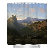 Landscape With The Castle Of Montsegur Shower Curtain