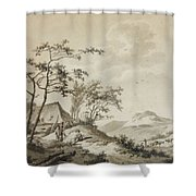 Landscape With Three Ramblers Shower Curtain