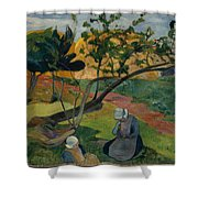 Landscape With Two Breton Women Shower Curtain
