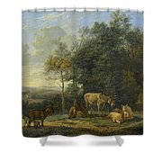 Landscape With Two Donkeys, Goats And Pigs Shower Curtain