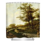 Landscape With Village Path And Men Shower Curtain