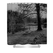 Langan Park In Black And White Shower Curtain