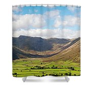 Langdale Fell And Pikes Panorama Shower Curtain