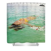 Lanikai Floating Woman Shower Curtain by Tomas del Amo - Printscapes