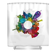 Lansing Small World Cityscape Skyline Abstract Shower Curtain