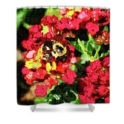 Lantanas And The Bee Shower Curtain