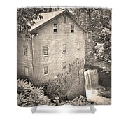Lanterman's Mill In Mill Creek Park Black And White Shower Curtain