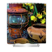 Lantern With Baskets Shower Curtain