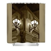 Lanterns - Night In The City - In Sepia Shower Curtain