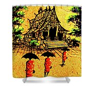 Procession To Temple, Lao Collection Shower Curtain