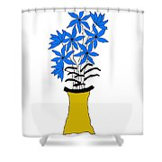 Blue Pointed Flowers Shower Curtain