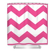 Large Chevron With Border In French Pink Shower Curtain