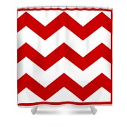 Large Chevron With Border In Red Shower Curtain