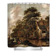 Large Farmstead On The Bank Of A River Shower Curtain